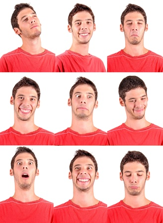 teenage boy doing facial expressions isolated in white