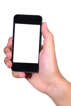 hands holding phones isolated in white photo