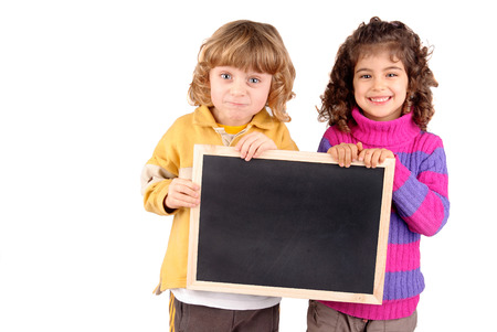 little kids holding a blackboard photo