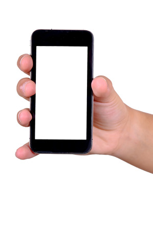 hands holding phone isolated in white photo