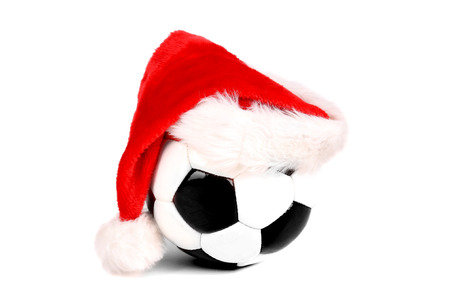 soccer ball with christmas hat photo