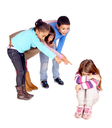 little kids bullying girl isolated in white Stock Photo