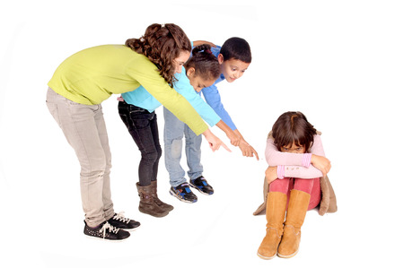 little kids bullying girl isolated in white photo