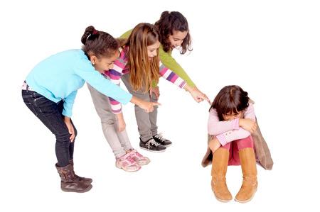 little kids bullying girl isolated in white Banco de Imagens