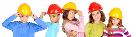 little kids with contruction helmets