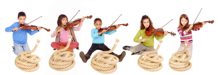 little girl with violin isolated in white Stock Photo