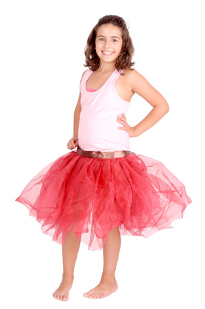 little girl with ballet outfit isolated in white photo