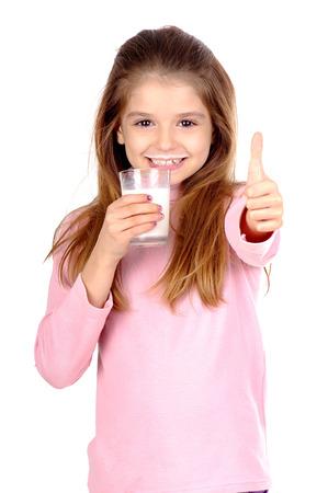 milk: little girl with glass of milk