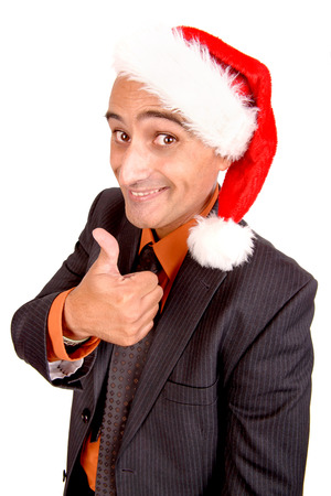 businessman with christmas hat isolated in white background photo