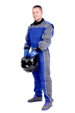 race driver isolated in white
