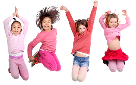 group of kids jumping isolated in white Banco de Imagens