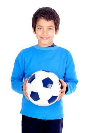 little boy with soccer ball isolated in white photo