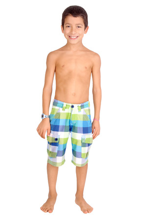 little boy with beach shorts isolated in white Stock Photo