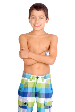 little boy with beach shorts isolated in white photo