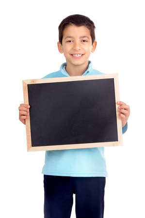 little boy holding blackboard isolated in white