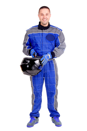 caucasian race: race driver isolated in white