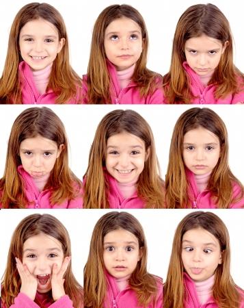 gezichts uitdrukkingen: meisje doet gezichtsuitdrukkingen