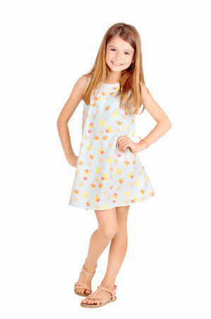 pretty young girl: little girl isolated in white Stock Photo