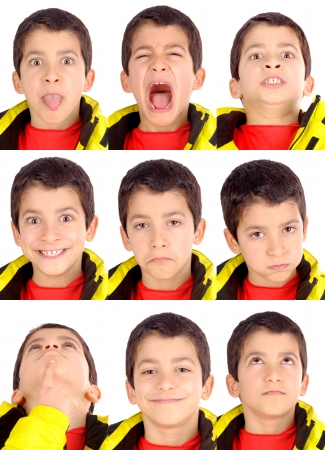 little boy doing facial expressions photo