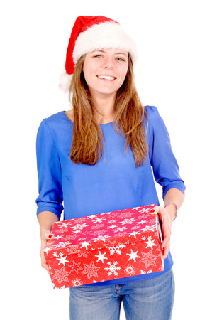 beautiful girl holding christmas box isolated in white photo