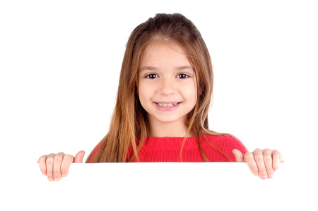 cute guy: little girl isolated in white Stock Photo