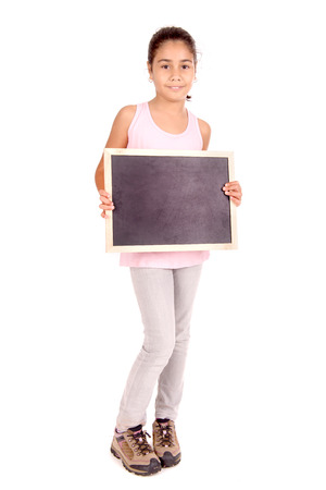 little girl holding blackboard photo