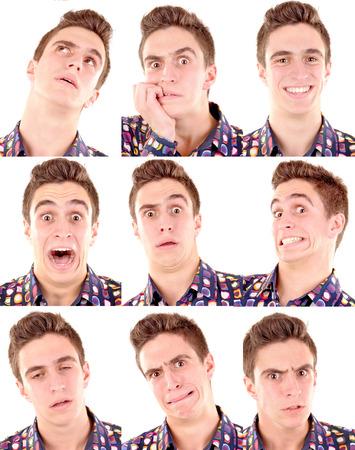 gestos de la cara: adolescente haciendo expresiones faciales aisladas en blanco