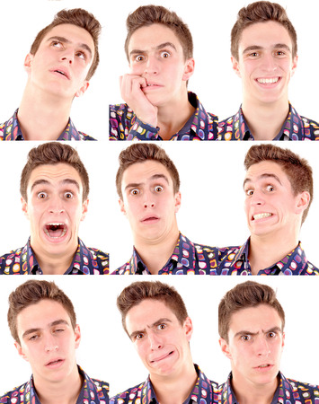 facial expressions: teenage boy doing facial expressions isolated in white