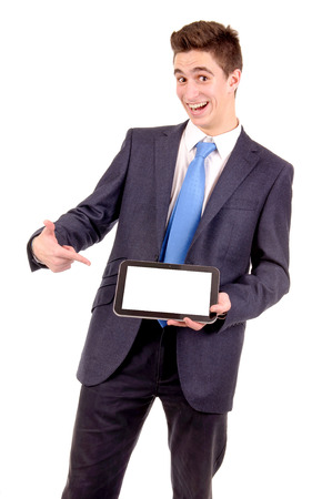 young businessman holding tablet isolated in white photo