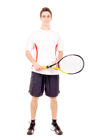 teenage boy playing tennis isolated in white photo