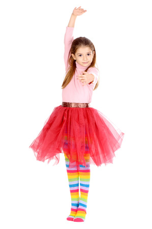 ballerina tights: little girl pretending to be a dancer