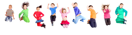 group of kids jumping isolated in white Stock Photo