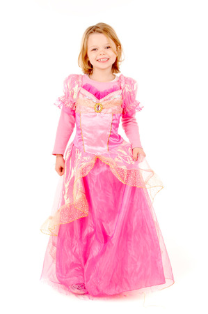 little girl dressed as a princess isolated in white Stock Photo