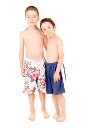 little kids with swimsuits isolated in white photo