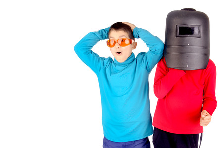 two boys with goggles and mask photo