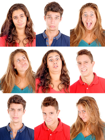 face expression: group of teenagers doing facial expressions isolated in white Stock Photo