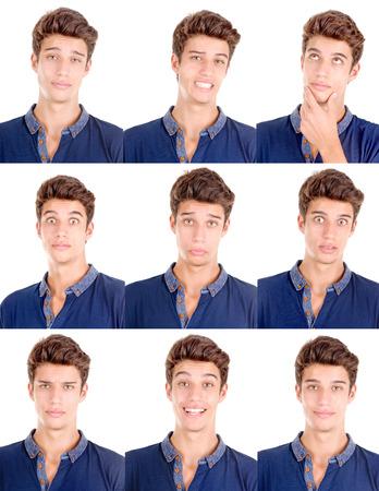 白で分離した表情をしているハンサムな若い男
