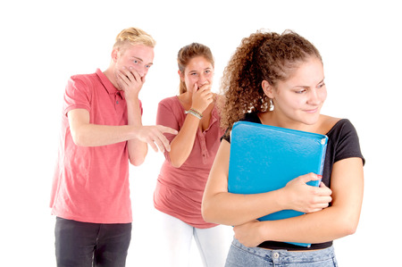 teenager bullying another classmate isolated in white photo