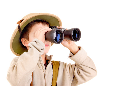 little explorer boy on safari isolated in white Stock Photo