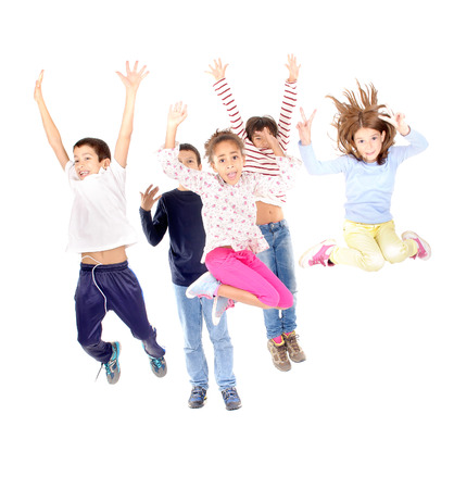 little kids jumping isolated in white Stock Photo