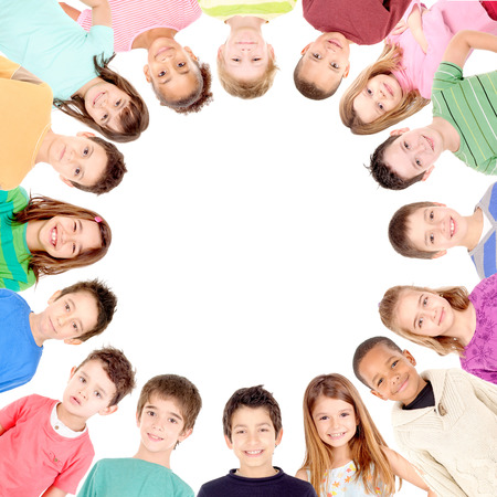group of kids isolated in white background photo