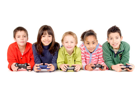 group of friends playing videogames isolated in white background Stock Photo