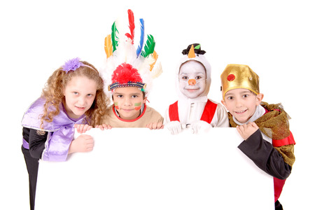 little kids in costumes on halloween isolated in white Stock Photo