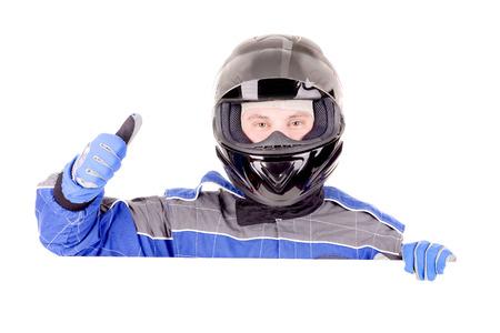 Rennfahrer in weißem Hintergrund