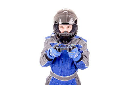 casque: race driver playing videogames isolated in white background Stock Photo