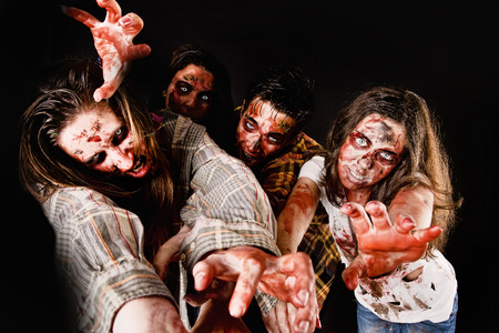 rotten teeth: zombies isolated in dark background