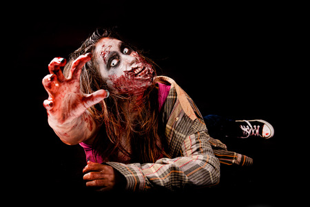 rotten teeth: zombie isolated in black background Stock Photo