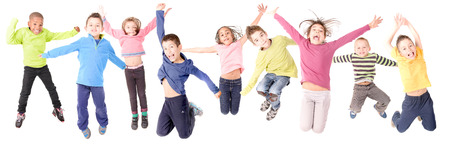 small group: group of kids jumping isolated in white Stock Photo