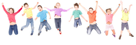 jump: little kids jumping isolated in white Stock Photo