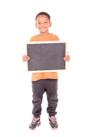 hand holding card: little boy holding a blackboard isolated in white